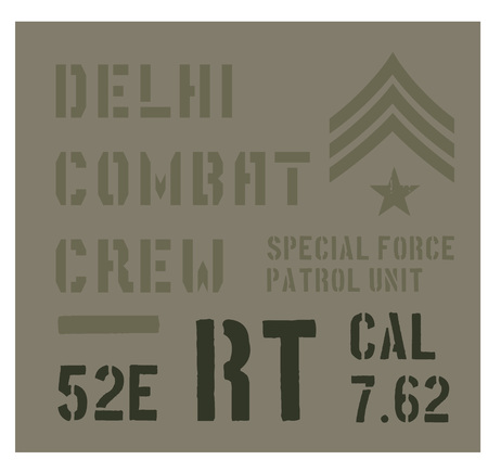 Delhi military plate, realistic looking military typography for t-shirt, poster, print.