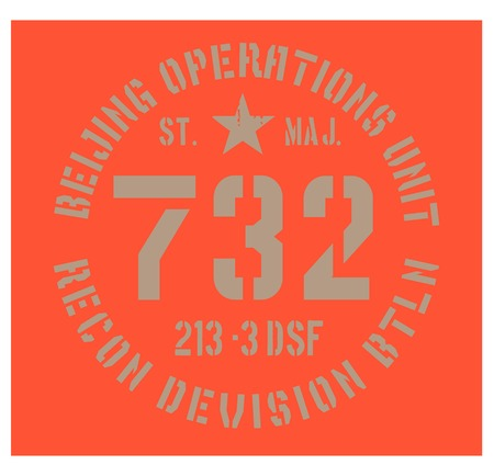 Beijing military plate, realistic looking military typography for t-shirt, poster, print. Illustration