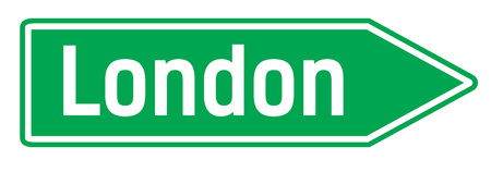 London city sign. Road sign with city name on it.