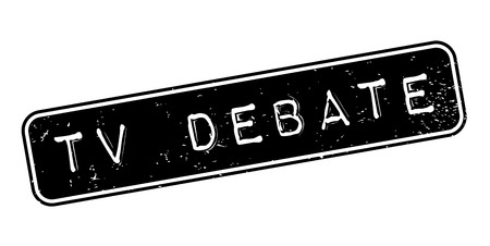 Tv Debate rubber stamp. Grunge design with dust scratches. Effects can be easily removed for a clean, crisp look. Color is easily changed.