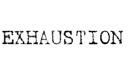 Exhaustion stamp. Typographic label, stamp or icon Illustration