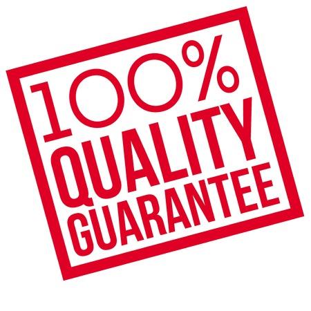 100% Qualitätsgarantie typografischer Stempel. Typografisches Zeichen, Abzeichen oder Symbol. Vektorgrafik