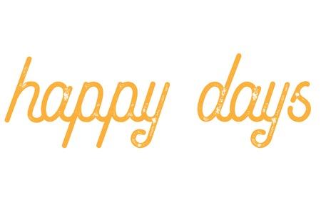 Happy Days typografische stempel. Typografisch teken, badge of pictogram.