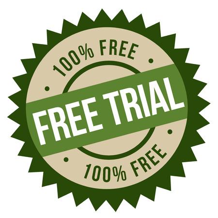 Free Trial stamp. Typographic sign, stamp or logo Illustration