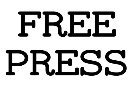 Free Press stamp. Typographic sign, stamp or logo