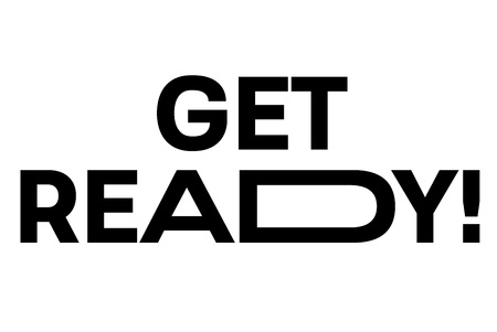 Get Ready stamp. Typographic sign, stamp or icon