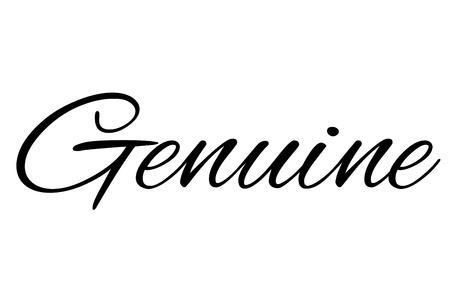 Genuine stamp. Typographic sign, stamp or icon Çizim