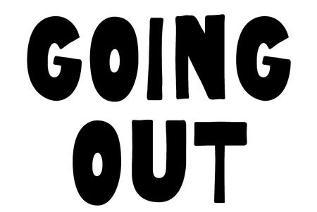 Stempel ausgehen. Typografisches Zeichen, Stempel oder Logo