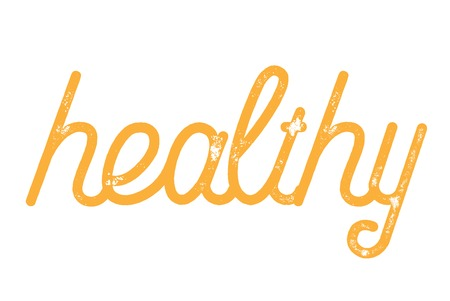 Healthy  typographic stamp. Typographic sign, badge or logo