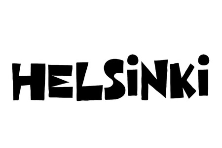 Helsinki typographic stamp. Typographic sign, badge or logo