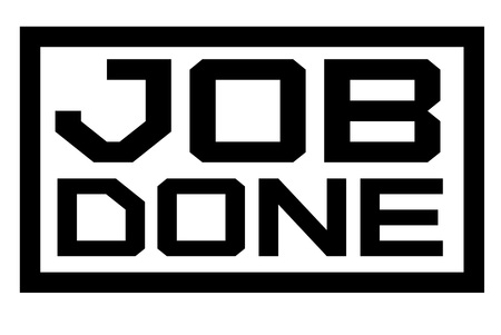 Job Done typographic stamp. Typographic sign, badge or logo.