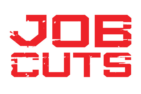 Job Cuts typographic stamp. Typographic sign, badge or logo.