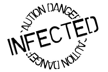 Infected typographic stamp. Typographic sign, badge