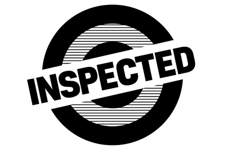 Inspected typographic stamp. Typographic sign, badge or icon Vectores