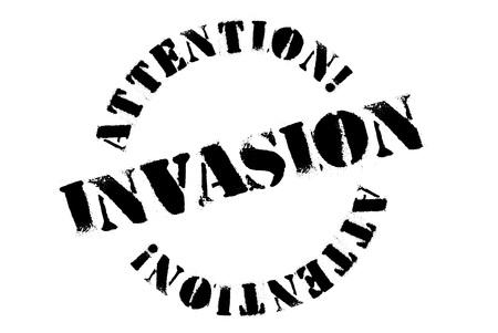 Invasion typographic stamp. Typographic sign, badge or logo Çizim