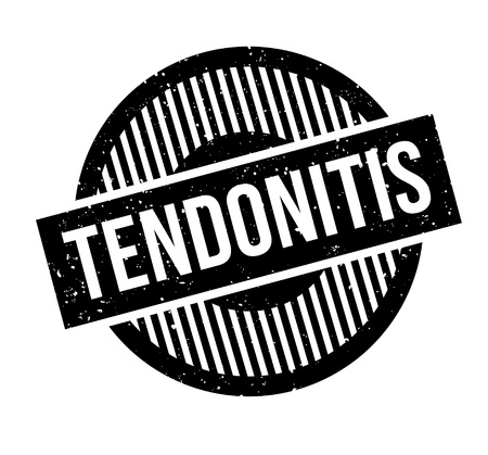 Tendonitis rubber stamp. Grunge design with dust scratches. Effects can be easily removed for a clean, crisp look. Color is easily changed.