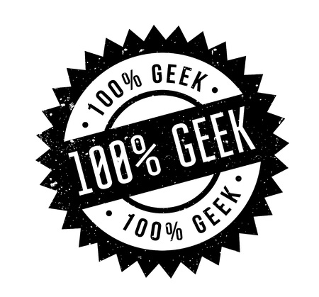 100 Geek rubber stamp. Grunge design with dust scratches. Effects can be easily removed for a clean, crisp look. Color is easily changed.