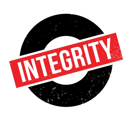 Integrity rubber stamp. Grunge design with dust scratches. Effects can be easily removed for a clean, crisp look. Color is easily changed. Vettoriali