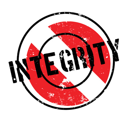 Integrity rubber stamp. Grunge design with dust scratches. Effects can be easily removed for a clean, crisp look. Color is easily changed. Çizim