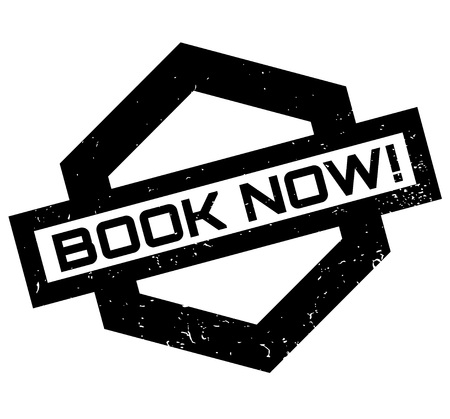 Book Now rubber stamp. Grunge design with dust scratches. Effects can be easily removed for a clean, crisp look. Color is easily changed. Illusztráció