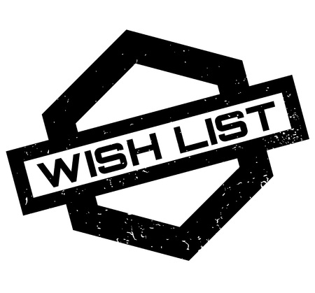 Wish List rubber stamp. Grunge design with dust scratches. Effects can be easily removed for a clean, crisp look. Color is easily changed. Vettoriali