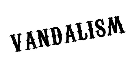 Vandalism rubber stamp. Grunge design with dust scratches. Effects can be easily removed for a clean, crisp look. Color is easily changed.