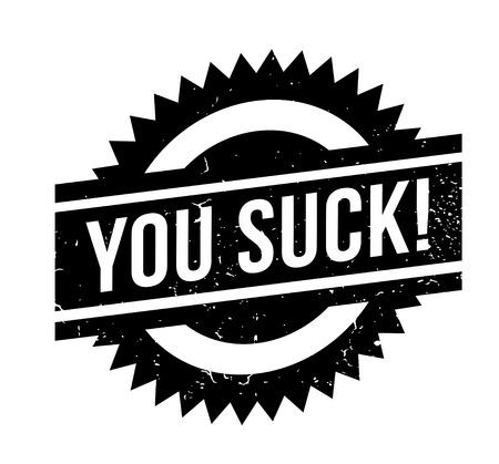 You Suck rubber stamp. Grunge design with dust scratches. Effects can be easily removed for a clean, crisp look. Color is easily changed. Ilustrace