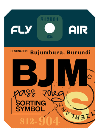 Bujumbura airport luggage tag. Realistic looking tag with stamp and information written by hand. Design element for creative professionals. Vettoriali