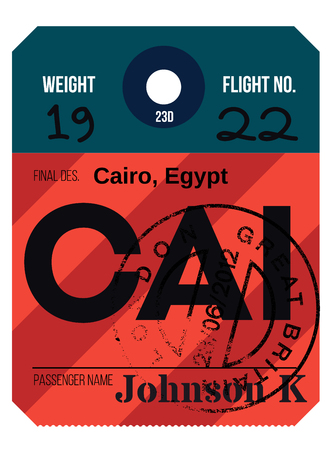 Cairo airport luggage tag. Realistic looking tag with stamp and information written by hand. Design element for creative professionals.
