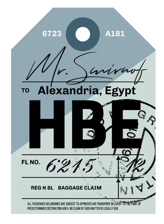 Alexandria airport luggage tag design