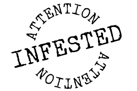 Infested typographic stamp. Typographic sign, badge