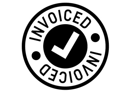 Invoiced typographic stamp. Typographic sign, badge