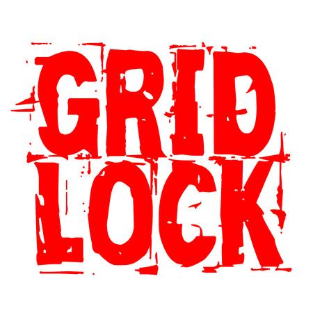 Gridlock stamp. Typographic sign, stamp