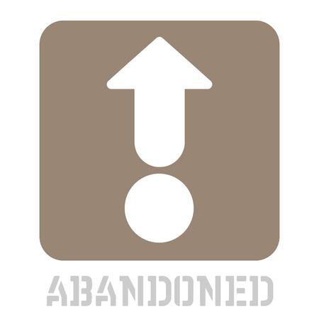 Abandoned conceptual graphic icon. Design language element, graphic sign.