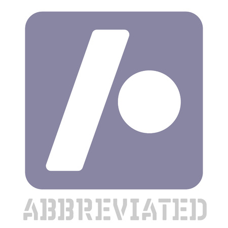Abbreviated conceptual graphic icon. Design language element, graphic sign.