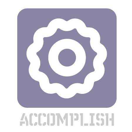 Accomplish conceptual graphic icon. Design language element, graphic sign.