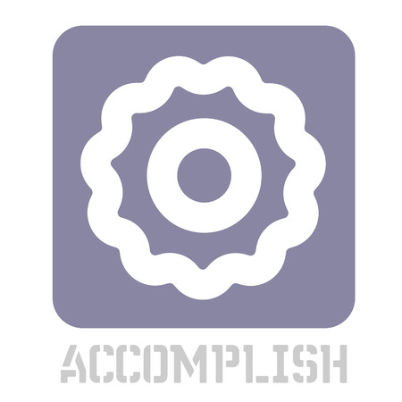 Accomplish conceptual graphic icon. Design language element, graphic sign.