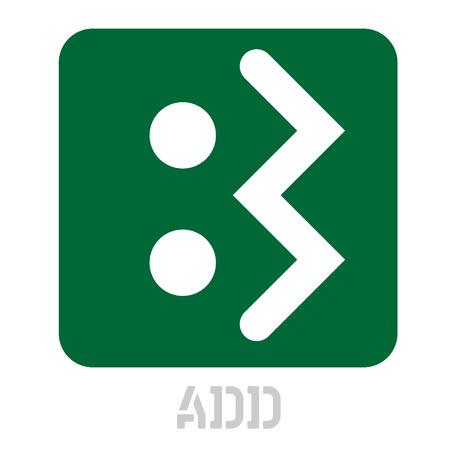 Add conceptual graphic icon. Design language element, graphic sign.