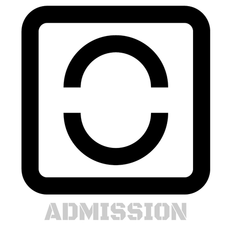 Admission conceptual graphic icon. Design language element, graphic sign.