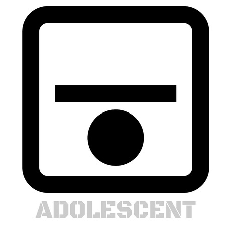 Adolescent conceptual graphic icon. Design language element, graphic sign.