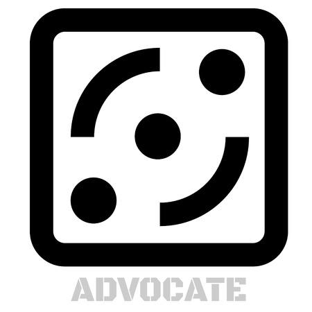 개념적 그래픽 아이콘을 옹호하십시오. 디자인 언어 요소, 그래픽 표시. 일러스트