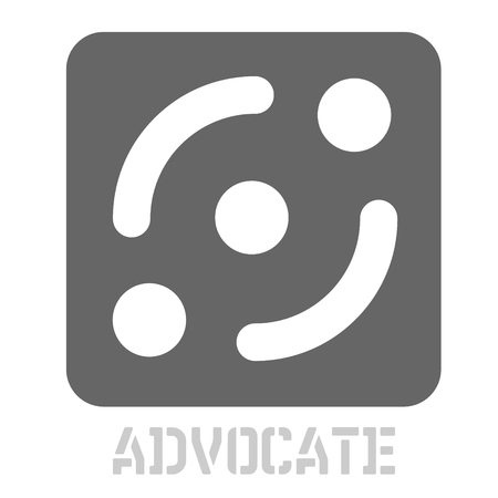Advocate conceptual graphic icon. Design language element, graphic sign.