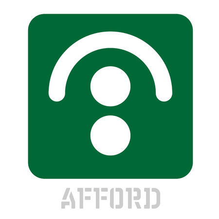 Afford conceptual graphic icon. Design language element, graphic sign. Çizim