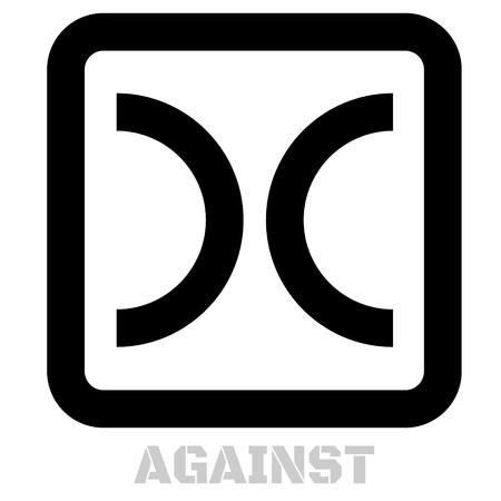 Against conceptual graphic icon. Design language element, graphic sign.