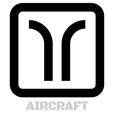 Aircraft conceptual graphic icon. Design language element, graphic sign.