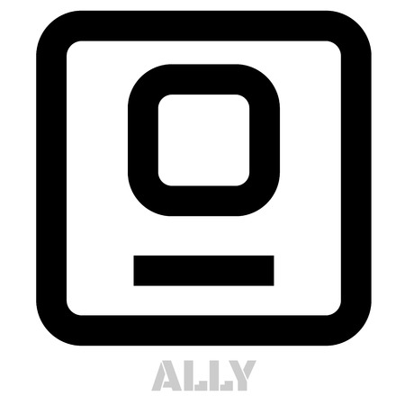 Ally conceptual graphic icon. Design language element, graphic sign. 向量圖像
