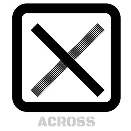 Across conceptual graphic icon. Design language element, graphic sign. Illustration