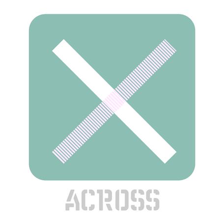 Across conceptual graphic icon. Design language element, graphic sign. Illusztráció