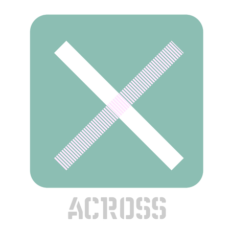 Across conceptual graphic icon. Design language element, graphic sign. Ilustração