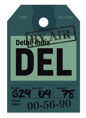 Delhi airport luggage tag. Realistic looking tag with stamp and information written by hand. Design element for creative professionals. 일러스트